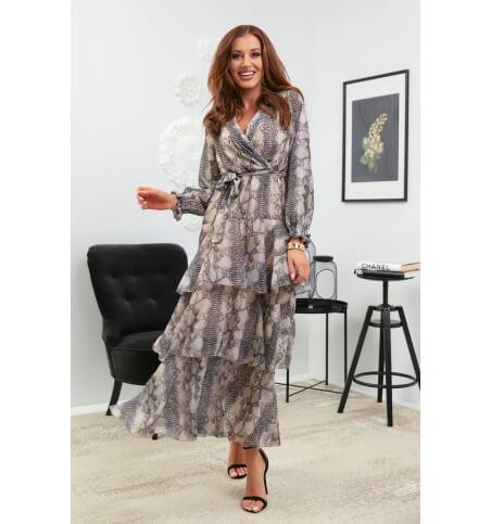 Sukienka falbany wzór1beż