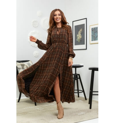 Maxi checked dress brown