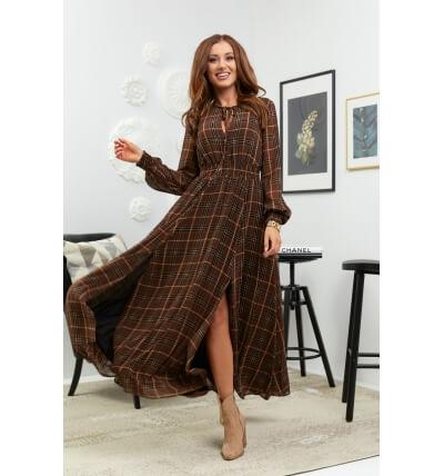 Sukienka maxi krata brązowy