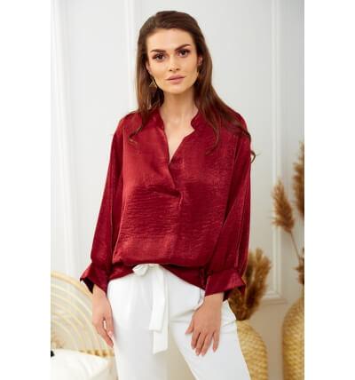 Pearl blouse maroon