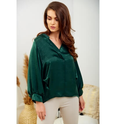 Pearl blouse bottle green