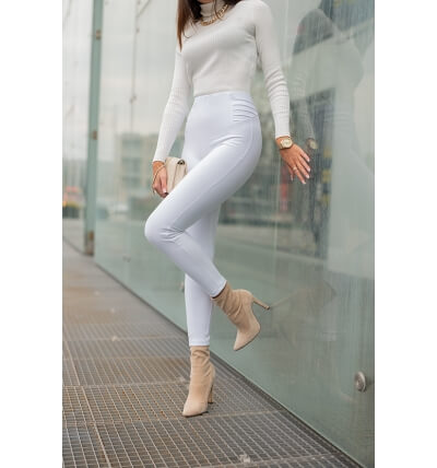 High leggings pants white