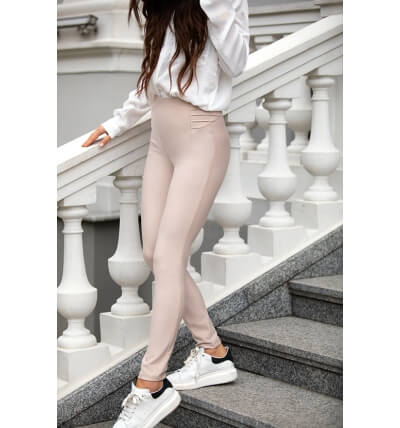 High leggings pants warm beige