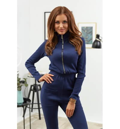 Drawstring jumpsuit navy blue