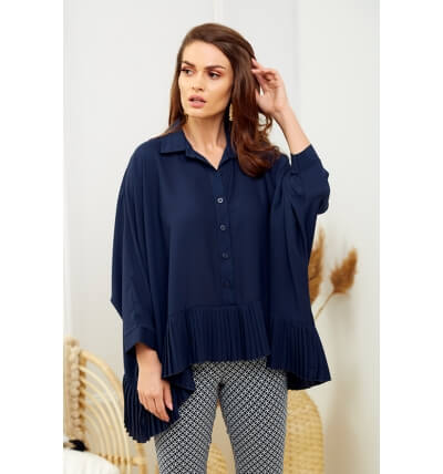 Blouse with pleats navy blue