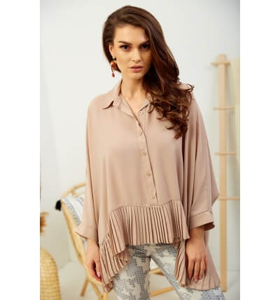 Blouse with pleats beige