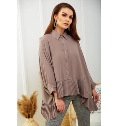 Blouse with pleats dark beige