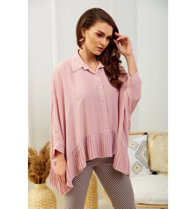 Blouse with pleats dirty pink