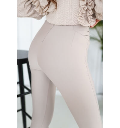 High leggings pants beige cool